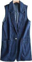 Women's Sleeveless One Button Mid Long Denim Vest Jacket Open Front Cardigan L