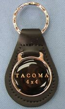 Vintage Black for Toyota TACOMA 4X4 logo Black Leather Chrome Keyring