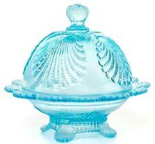 Butterdish - Beaded Shell - Aqua / Blue Opalescent Glass - Mosser USA