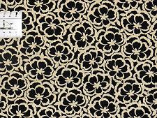 15,30€/m² => 25cmx115cm GOTHAM - Abstrakte Blumen Schwarz Beige - Patchworkstoff