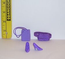 Barbie Doll Pre-Owned Purple Shoes Fanny Pak And Purse Lot Of 3 Good Condition