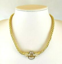14CT SOLID GOLD 18 INCH PANTHER CUBIC ZIRCONIA NECKLACE FULL BRITISH HALLMARK