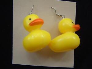 Huge Funky Rubber DUCKY EARRINGS Tubby Bath Duck New Baby Mommy Novelty Jewelry