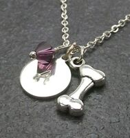 Custom Dog Bone Necklace Personalized Alphabet Letter Birthstone from Swarovski