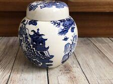 Masons Willow Pattern Blue White Ginger Jar For Twinnings Ltd