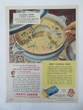 Vintage Australian advertising 1950 ad KRAFT CHEDDAR CHEESE soup recipe art
