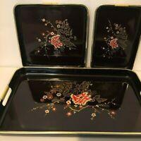 Vintage Japanese Laquer Ware Nesting Trays Set of 3 Gold Trim Sparkling Finish