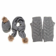 JISEN Women's Autumn Winter Brand New Knitted Hat Glove And Scarf Set (Grey)