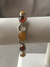 """Butterscotch and Cognac Amber Bracelet 6"""" to 7-1/4"""" Long Sterling"""