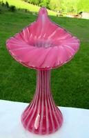 "Fenton Cranberry Opalescent Ribbed Optic Swirl JIP/Tulip Vase 11""H MINT**Scarce"