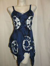 L.S.I. Top Women's Size 1X Blue Tie Dye Sleeveless BOHO Beaded Embroidery Shirt