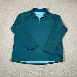 Under Armour Pullover Mens XXL Green 1/4 Zip Long Sleeve Lightweight Heat Gear
