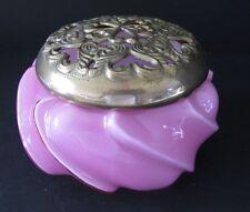 Fenton Pink /White Cased Glass Twist Squatty Vase ~Heavy Brass Flower Holder Lid