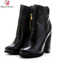 New Women Ankle Boots Comfortable Round Toe Square Heels Boots Black Shoes Woman