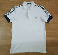 Fred Perry Polo T Shirt Top Short Sleeves White Size S
