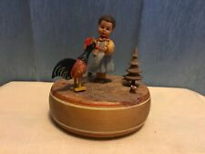Vintage Anri Reuge Swiss Movement Music Box Girl with Rooster Hi-Lilli Hi-Lo