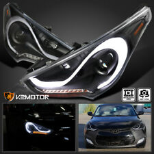For 12-15 Hyundai Veloster LED DRL Sequential Signal Black Projector Headlights