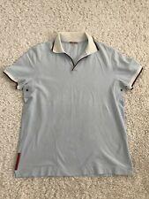 Prada polo shirt men short sleeves blue grommet