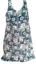 Hilo Hattie Sage Green Hawaiian Print Sleeveless Tank Dress Rayon Sz 10