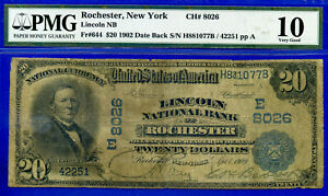 1902 $20 National (( Lincoln, ROCHESTER )) PMG 10 DATE BACK CH# 8026 - H881077B-