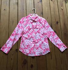 Izod women's M hot pink floral long sleeve button up shirt top w/ collar