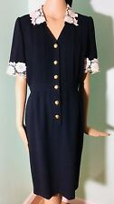 Vintage Valentino Miss M Dark Blue Dress Appliqué Lace Collar Cuff V Buttons S/M