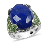 Platinum Over 925 Sterling Silver Lapis Lazuli Ring Gift Jewelry Size 6 Ct 18