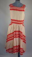 GAP Beige Red Striped Cotton Blend Fit Flare Midi Swing Dress Retro Style UK 12