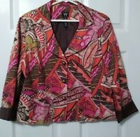 Work to Weekend Line Button Up Multicolored Blazer Sport Jacket Top Size 12 EUC
