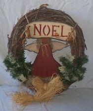 "16"" Country Wood Noel Sign & Angel Wire Tree Detailed Christmas Door Wreath"