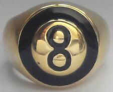Bronze 8 Ball Biker Ring Custom Size Black Enamel Pool Billiards handmade R29bb