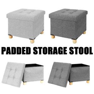 Home Folding Ottoman Storage Box Pouffe Seat Stool Home Chair Footstool Storage
