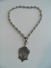 """UNUSUAL STERLING SILVER LINK CHAIN NECLACE with """"DOUBLE SCULL"""" AWARD/MEDAL CHARM"""