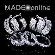 Chunky Hoop Earrings, Silver Plated Sparkle Diamante Bling