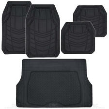 5pc All Weather Car Floor Mats & Cargo Set- Black RIGID Tech Rubber MotorTrend