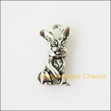 12 New Animal Lovly Rabbit Tibetan Silver Tone Charms Pendants 9.5x18mm
