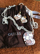 "GUESS PARURE COEUR Collier & Boucles - SET Necklace & Pierced Earrings 'HEART""."