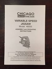 Chicago Electric Tools Variable Speed Jigsaw 46055 Operators Manual Instructions