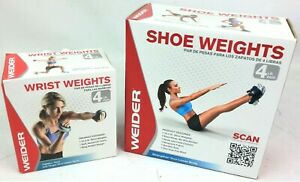 Weider Wrist Weights + Shoe Weights Both 4lb Pairs Upper Body Lower Body Fitness