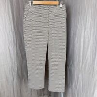 M&S Ivory Mix Geometric Print SIZE 10 SHORT UK Cropped Smart Trousers