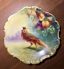 Coronet Limoges Hand Painted Bird Plate with Rocco Edges