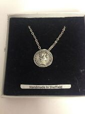 """Domitian WE-C12 Roman Coin  Emblem on Silver Platinum Plated Necklace 18"""""""