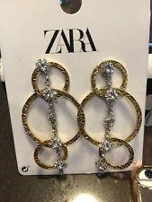 Zara Rhinestone/Gold Hoop Style Earring Pierced