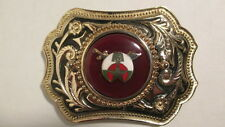 Vintage new old stock Gold & black  Belt Buckle w/39mm SHRINER emblem dark red