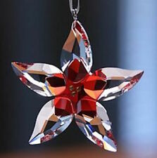 Authentic Swarovski Crystal Red Poinsettia Ornament Star Flower Coa New Box