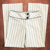 Heart Soul Womens Pants Size 7 White Striped Flare Leg Low Rise Elegant Trouser