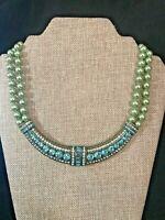 "Heidi Daus ""EVERYDAY ELEGANCE"" Beaded Crystal Collar Necklace  Aquamarine NWT"