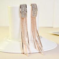 1 Pair Long Drop Earrings Diamante Bridal Tassel Rhinestone Dangle Crystal Party