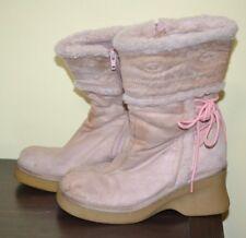 Lei. Women's Pink Faux Suede Boots Size 9 M Zipper Closure-Faux Fur Trim