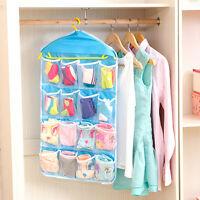 16 Pockets Foldable Wardrobe Socks Clothing Hanger Closet Underpants Storage Bag